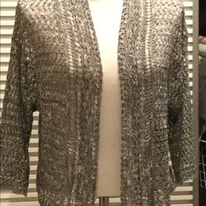 DRESS BARN szXL loose knit sweater open front grey